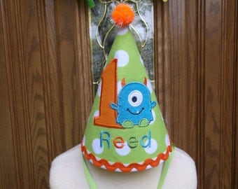 Monsters Incorporated Birthday Hat- Monster Birthday Hat - Free Personalization