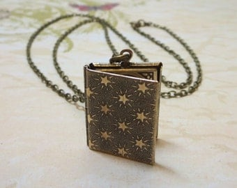 Book Locket Necklace Pendant Brass Locket Star Locket Mystical Celestial Fantasy Locket Book Locket Antique Bronze Petite Locket Long Chain