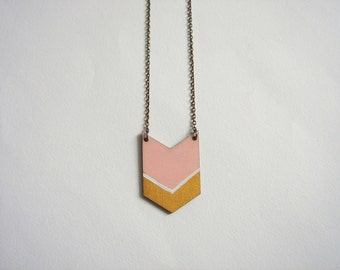 Light pink &Gold Chevron Necklace, Wood Geometric Necklace, Hand Painted  Wood Necklace,Geometric Jewelry