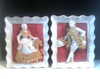 Wall Hanging Victorian Porcelain Figurines Lady and Gentleman with Velvet Background, Collectable Set of 2, Vintage IT372 BA3 DeAnnasAttic