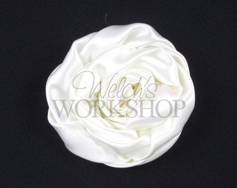 """White - Set of 3 Large 3"""" Rolled Satin Flowers - RSF-025"""