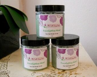 Eucalyptus Mint Sea Salt Scrub, Body Scrub, Salt Scrub, Exfoliating Scrub, Body Polish