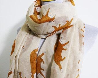 Beige Fox Scarf, Animal Printed Scarf, Small Fox Scarf, Autumn Scarf, Best Scarf, Chunky Scarf, Circle Scarf, Fall Scarf, Scarf Gift