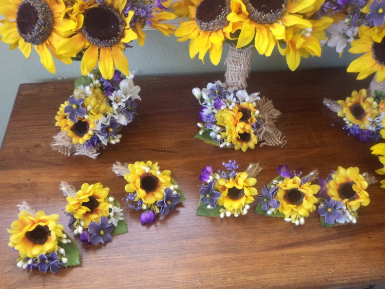 12 Pc Sunflower And Purple Wild Flowers Rustic By Mtfloral