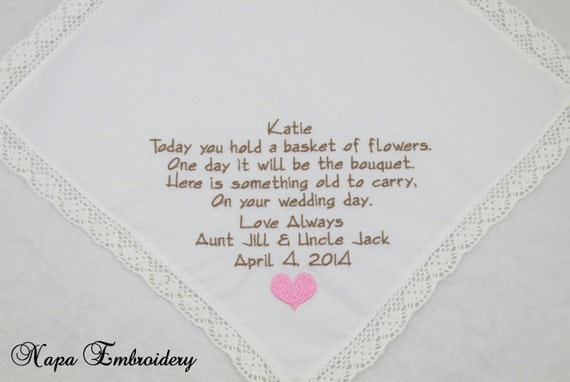 Special Wedding Gift For Niece : ... wedding hankies gift poem personalized hankies poem junior bridesmaid