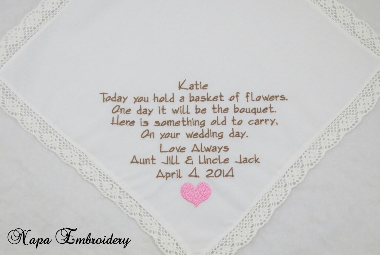 Embroidered Flower Girl Handkerchiefs Hankerchiefs Wedding