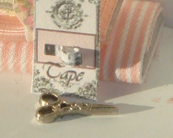 Dollhouse  french style card with new measuring tape.1:12 dollhouse miniature sewing.