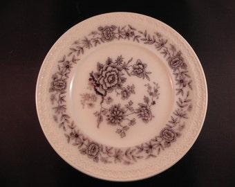 Vintage  Salad Plate Swedish  by GEFLE in Stjarnsund With Black on White Flower Design