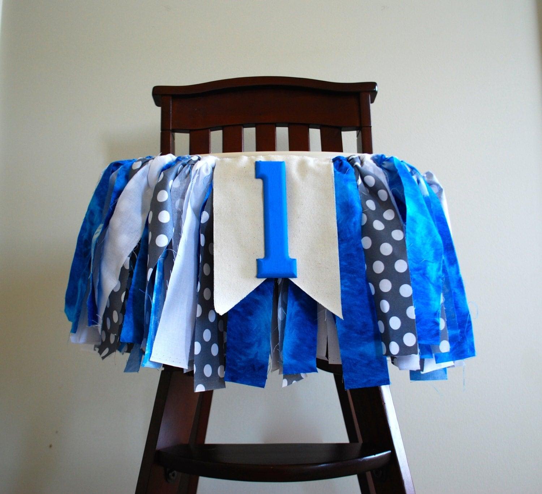 Little Man High Chair Rag Tie Fabric Bunting 1st Birthday