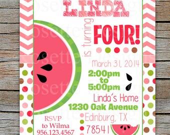 Watermelon Invite - Printable chevron watermelon - Pink watermelon - Red Watermelon - Sweet Watermelon - Modern Invitation - (digital file)
