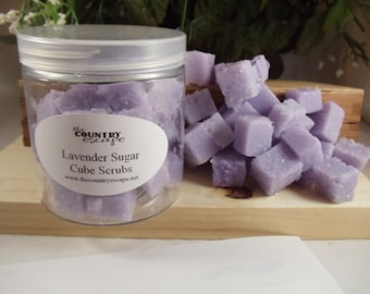 Lavender Sugar Scrub Cubes- with Essential Oil and Jojoba Oil- Gentle Exfoliation