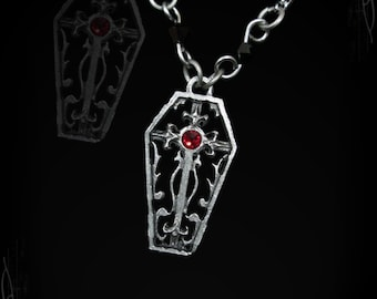 Little gothic coffin necklace with swarovski, the stomb pendant