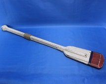 """Red Tipped Painted White Oar w/ Hooks 36"""" - Nautical Home Decor / Beach Accents / Keyrack and Key Hooks"""