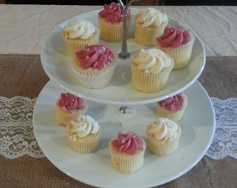 Ceremic 2 Tier White/Silver Cake Stand