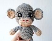 Crochet Monkey Toy. Grey crochet soft toy stuffed. Monkey toy for babies or toddlers.