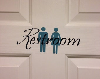 Restroom / Bathroom Sign Decal - Customize