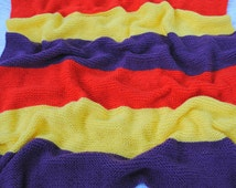 Striped Hand-Knit Blanket -- Afghan -- Throw -- couverture tricot --
