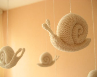 Knitted Snails Mobile/ Handmade Nursery Mobile / Eco Friendly Natural / Made to order