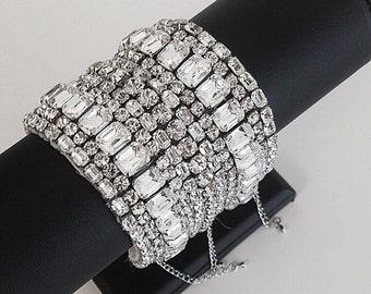 Art Deco Crystal Cuff -Aurora
