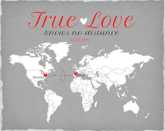Long Distance Relationship, Valentines Day Gift -  Art Print, Living Far Apart, Romantic Gift for Boyfriend, Husband, Spouse - Distance