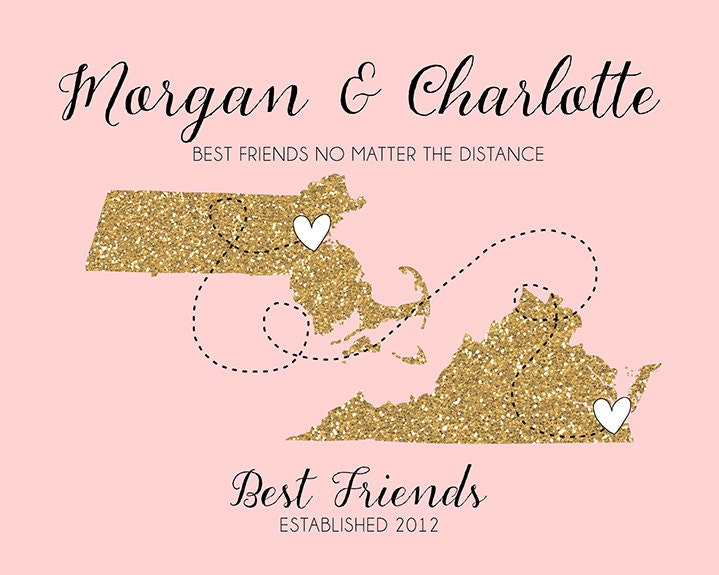 Wedding Gift For Distant Friend : Best Friend Long Distance Print Gift Friend by WanderingFables