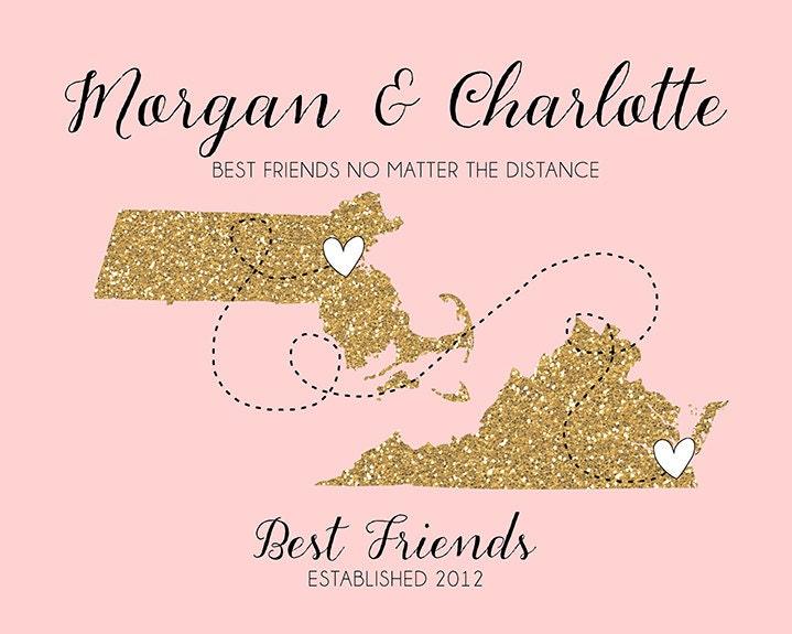 Best Friend Long Distance Print Gift Friend by WanderingFables
