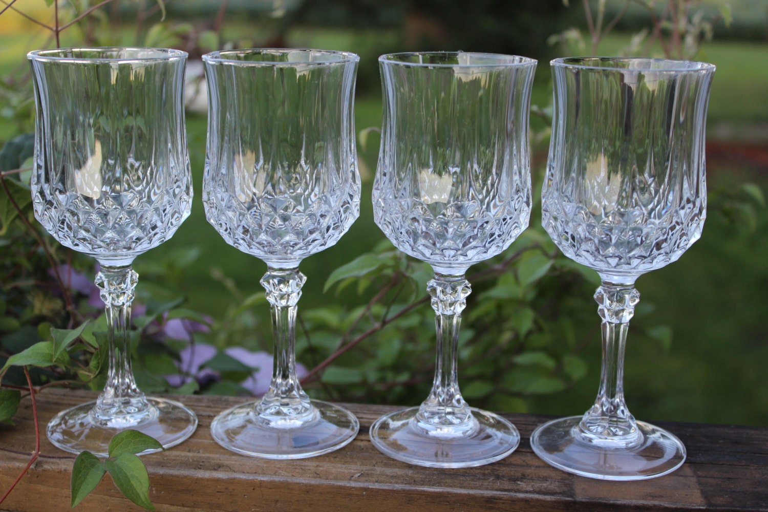 Four 4 Vintage 6 5 Inch Lead Crystal Wine Glasses By Cristal