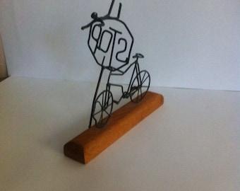 Vintage sculpulture / hand made rustic sculpulture / bike sculpulture with stop sign /