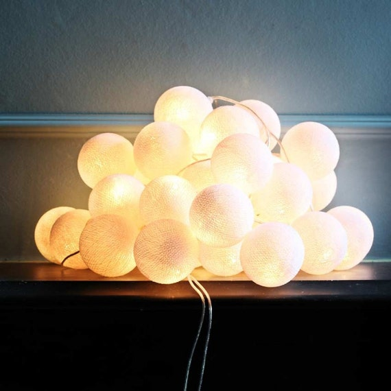 Items similar to String Lights - White Cotton Ball, wall hanging, home decor, holidays ...