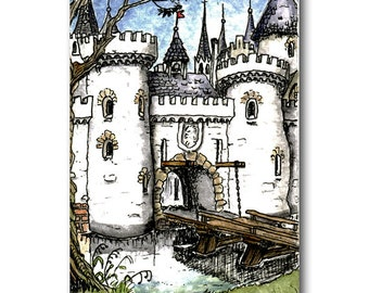 ACEO original ink and watercolour city gate