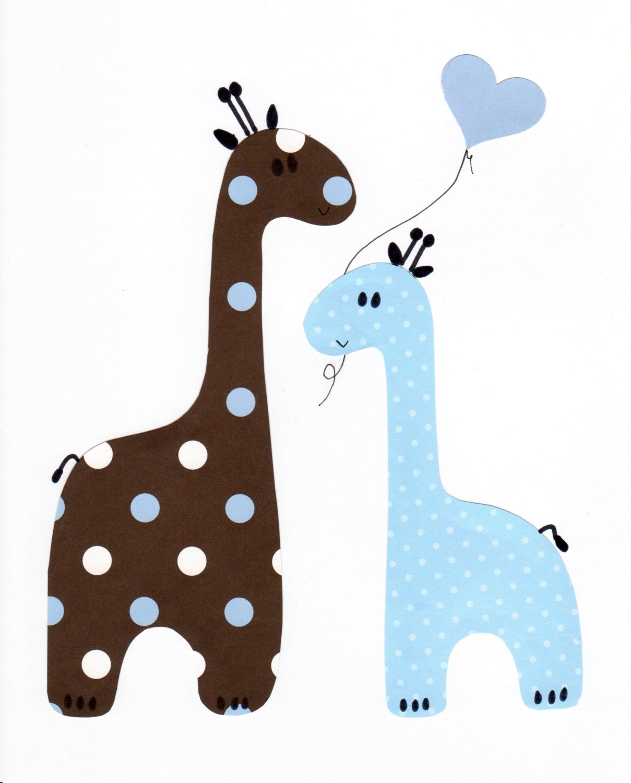 Baby Giraffe Clipart Blue Blue and Brown Giraffe...