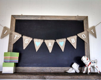 Its A Boy Burlap Banner Baby Shower Nursery Sign Pennant Bunting Flag Rustic Country Kid Wall Decor