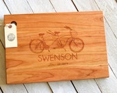 Custom Engraved Personalized Wood Cutting Board - Tandem Bike Design