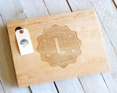 Wavy with arrows Badge Design With Name & Date Wood Cutting Board