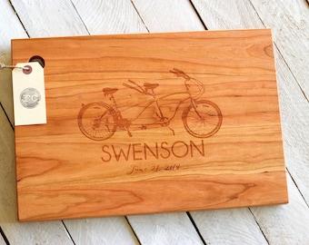 Custom Engraved Personalized Wood Cutting Board - Tandem Bike Design
