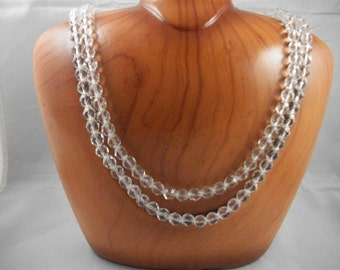 "Gorgeous Hobe 22"" Double Strand Rock Crystal Necklace"