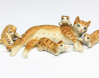 Animals Ceramic Brown Color Cat Family Kitten Ceramic Hand painted