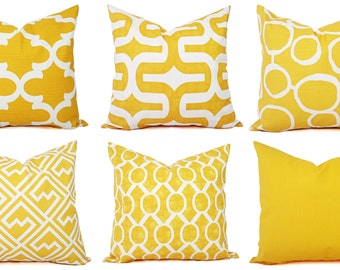 Yellow Pillow Cover - Yellow and White Decorative Pillow Cover - Yellow Pillow - Yellow Couch Pillow Cushion Cover Accent Pillow