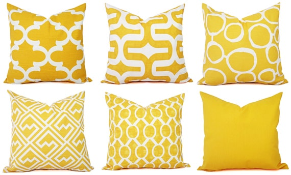 Yellow Pillow Cover Yellow And White Decorative Pillow Cover