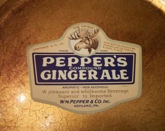 1920's Original Pepper's Compound Ginger Ale Label