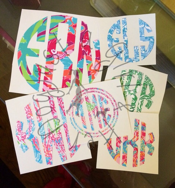 Lilly Pulitzer Monogram Decal Sticker DIY From SealedWithAPaw On - Monogram car decal maker