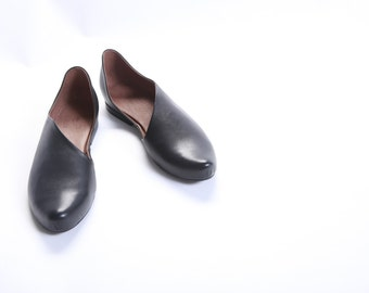 Black Woman Leather Shoes, Pointy leather flats, Every Day Woman Shoes, Shoes women, Smart Casual Woman Leader Shoes, Una Una, Size 10.5