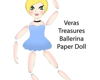 DIY Articulated Paper Doll ballerina Print Instant Digital Download