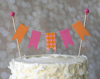 Hot Pink and Orange Birthday Cake Bunting Pennant Flag Cake Topper-MANY Colors to Choose From!  Birthday, Shower Cake Topper