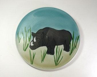 Porcelain Rhino Pottery Rhinoceros Serving Platter Plate