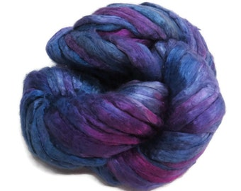 Mulberry Silk roving, hand dyed purple/blue