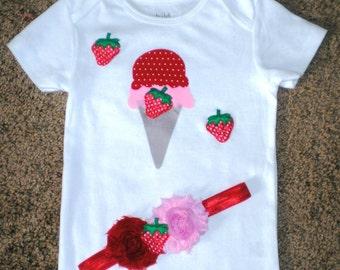 Girl Onsie, Ice Cream Onsie, Toddler Clothing, Baby Clothing, Onsie, Bodysuit, 18 Months