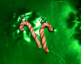 Glass Candy Cane Earrings
