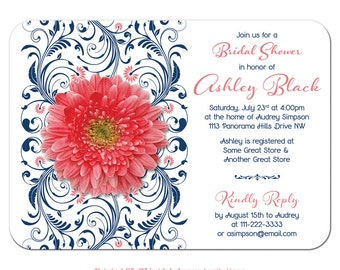 Coral Gerbera Daisy Floral Navy Blue Wedding Bridal Shower Invitations Printed