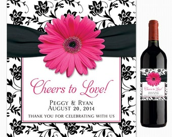 Pink Gerber Daisy Black White Damask Floral Ribbon Cheers to Love Personalized Wedding Wine Labels Printed